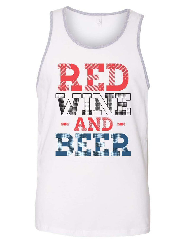 Red Wine And Beer Mens Tank Top By Funny Threadz Funny Shirt Small / White