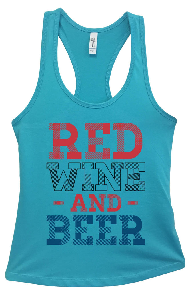 Womens Red Wine And Beer Grapahic Design Fitted Tank Top Funny Shirt Small / Sky Blue