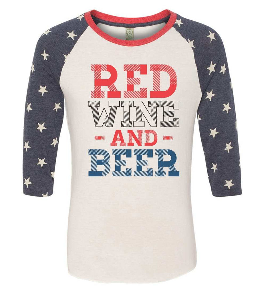 Red Wine And Beer Raglan Baseball Tshirt- Unisex Sizing 3/4 Sleeve Funny Shirt X-Small / White/ stripes sleeve