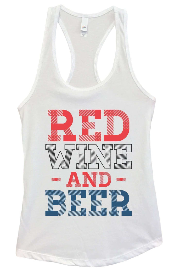 Womens Red Wine And Beer Grapahic Design Fitted Tank Top Funny Shirt Small / White