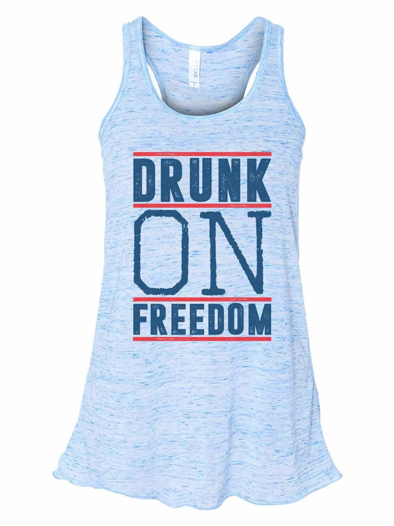 Drunk On Freedom - Bella Canvas Womens Tank Top - Gathered Back & Super Soft Funny Shirt Small / Blue Marble