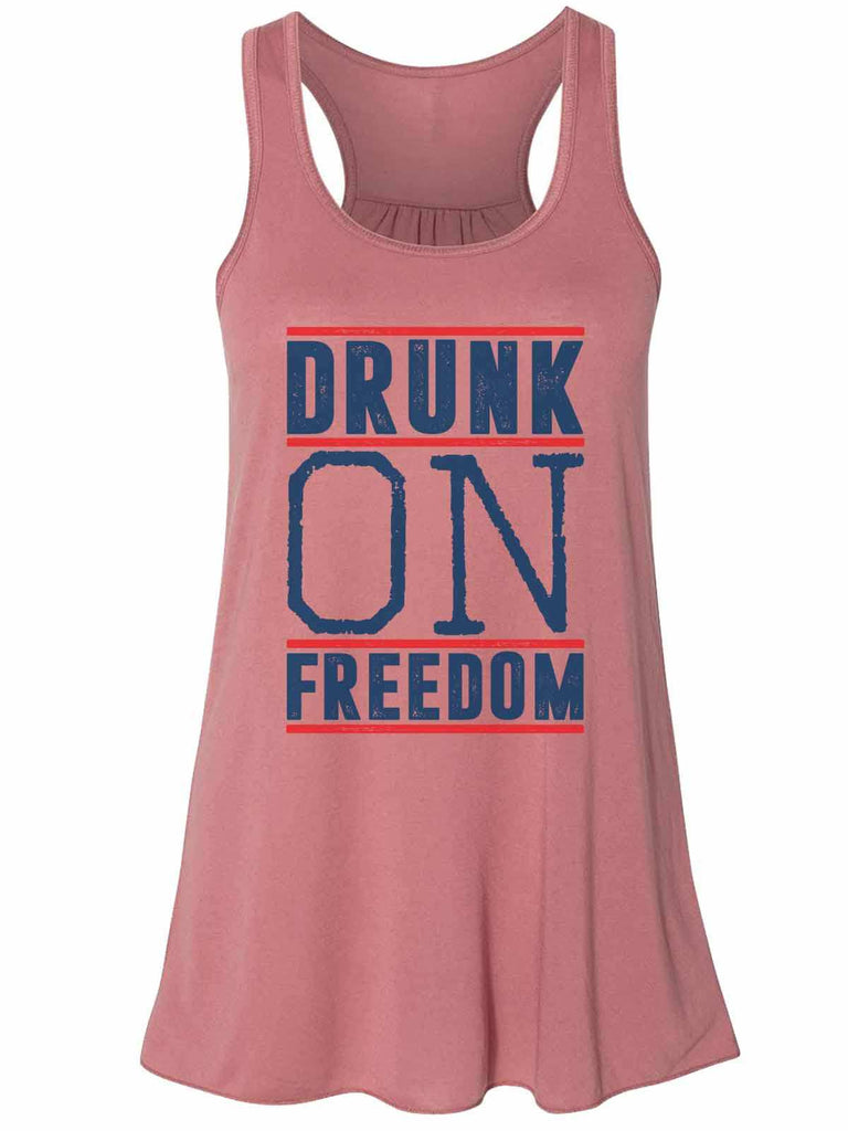 Drunk On Freedom - Bella Canvas Womens Tank Top - Gathered Back & Super Soft Funny Shirt Small / Mauve