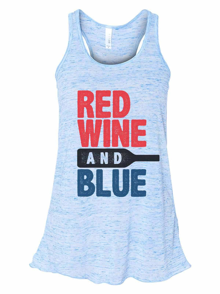Red White And Blue - Bella Canvas Womens Tank Top - Gathered Back & Super Soft Funny Shirt Small / Blue Marble