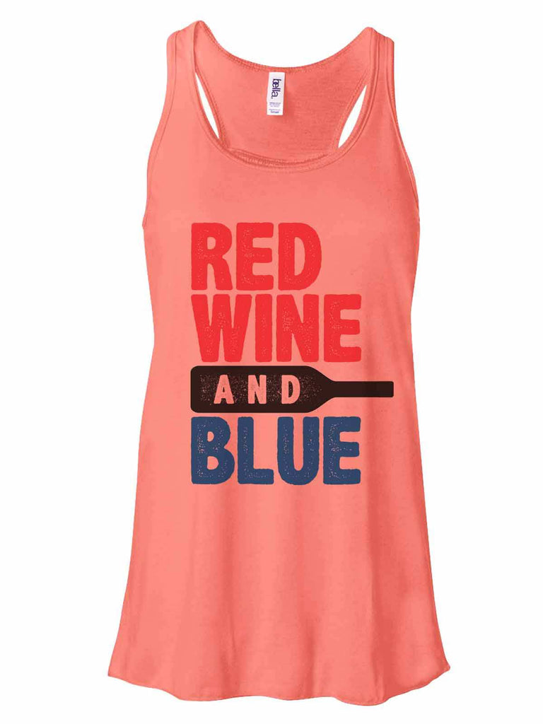 Red White And Blue - Bella Canvas Womens Tank Top - Gathered Back & Super Soft Funny Shirt Small / Coral