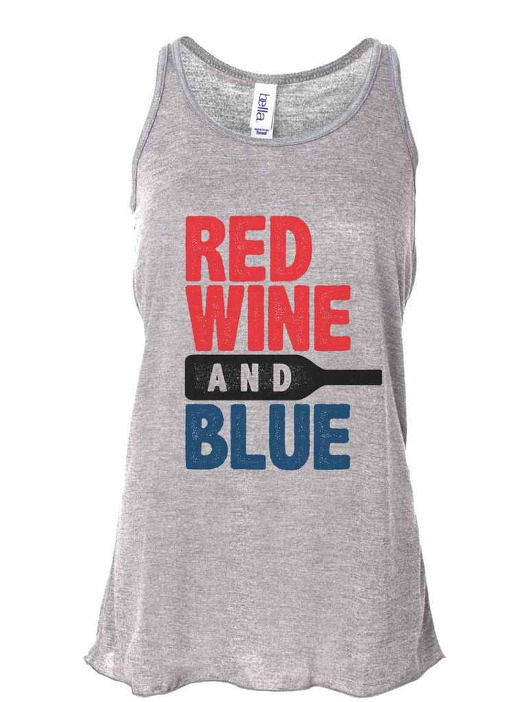 Red White And Blue - Bella Canvas Womens Tank Top - Gathered Back & Super Soft Funny Shirt Small / Gray