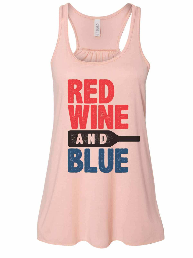 Red White And Blue - Bella Canvas Womens Tank Top - Gathered Back & Super Soft Funny Shirt Small / Peach