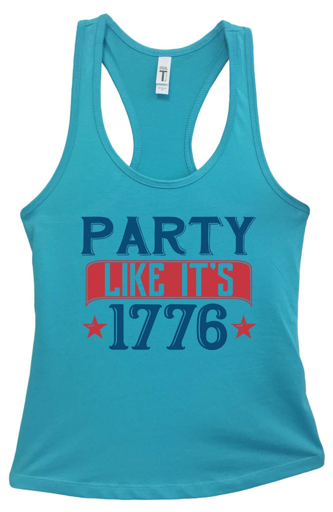 Womens Party Like It'S 1776 Grapahic Design Fitted Tank Top Funny Shirt Small / Sky Blue