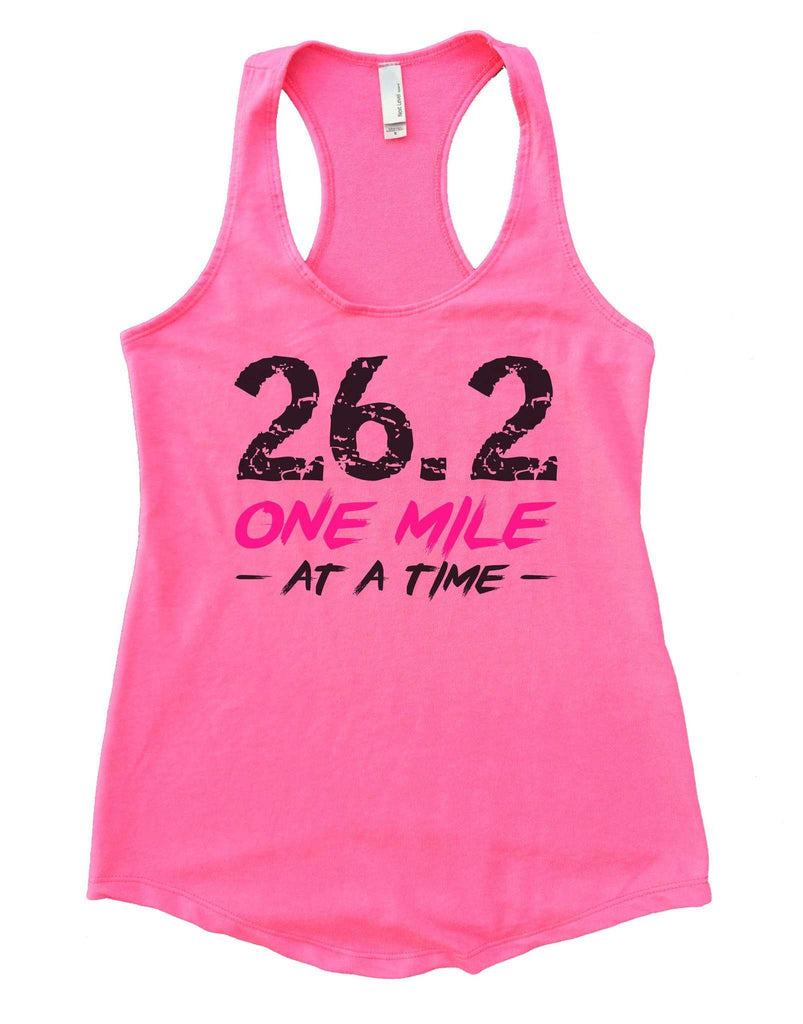 26.2 One Mile At A Time Womens Workout Tank Top Funny Shirt Small / Heather Pink