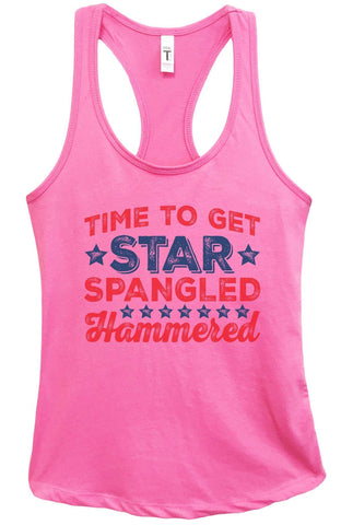 Womens Time To Get Star Spangled Hammered Grapahic Design Fitted Tank Top