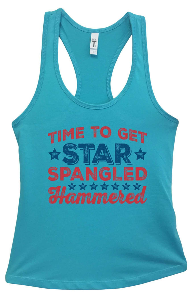 Womens Time To Get Star Spangled Hammered Grapahic Design Fitted Tank Top Funny Shirt Small / Sky Blue