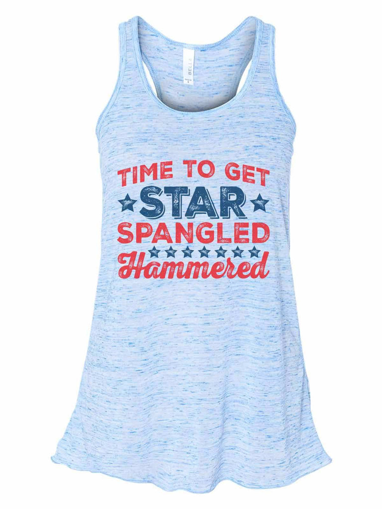 Time To Get Star Spangled Hammered - Bella Canvas Womens Tank Top - Gathered Back & Super Soft Funny Shirt Small / Blue Marble