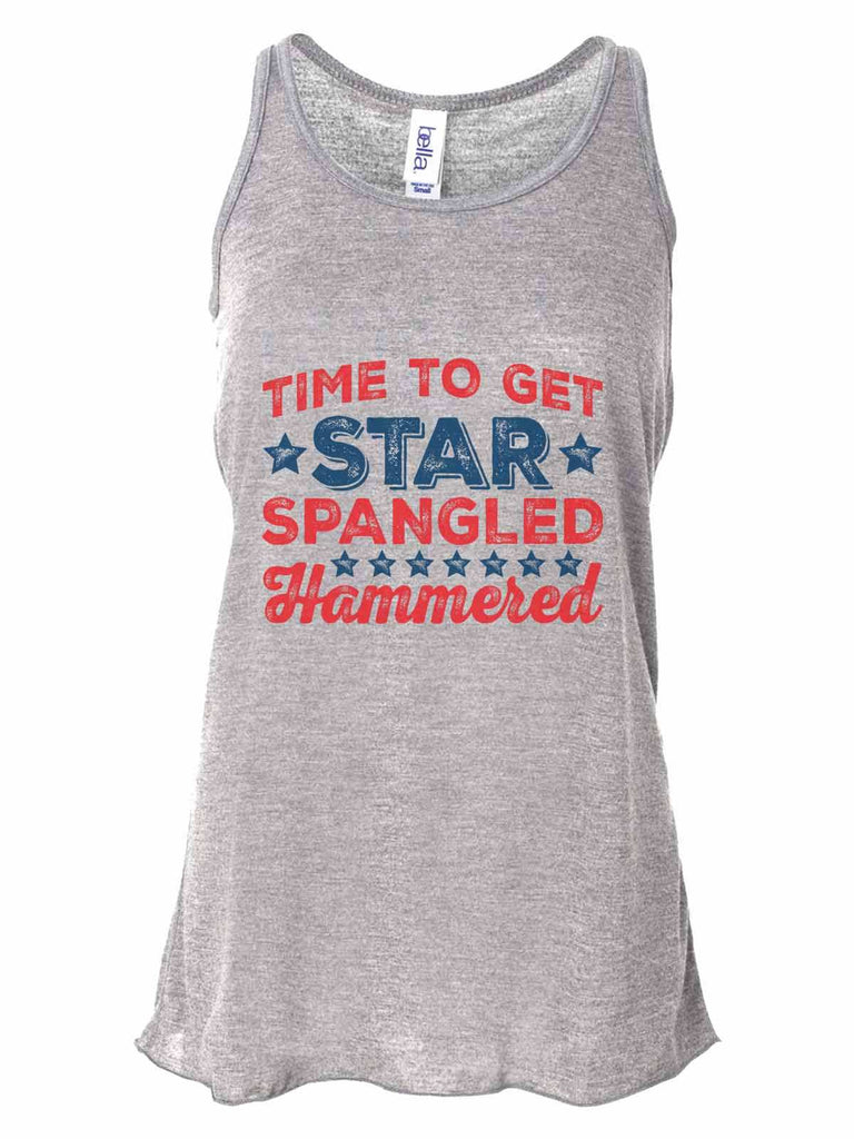 Time To Get Star Spangled Hammered - Bella Canvas Womens Tank Top - Gathered Back & Super Soft Funny Shirt Small / Gray
