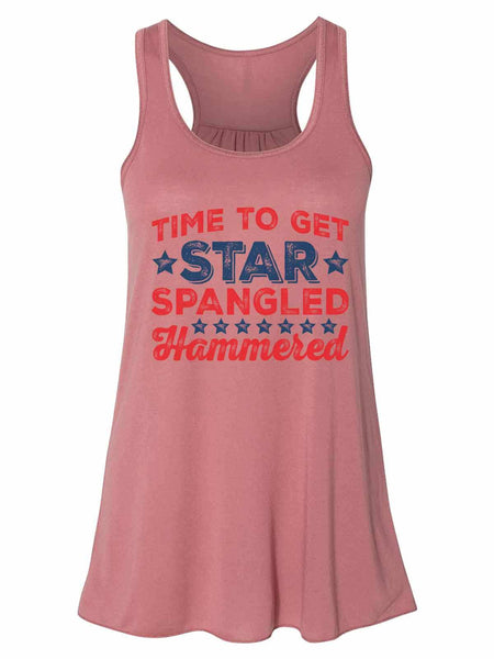 Time To Get Star Spangled Hammered - Bella Canvas Womens Tank Top - Gathered Back & Super Soft Funny Shirt Small / Mauve