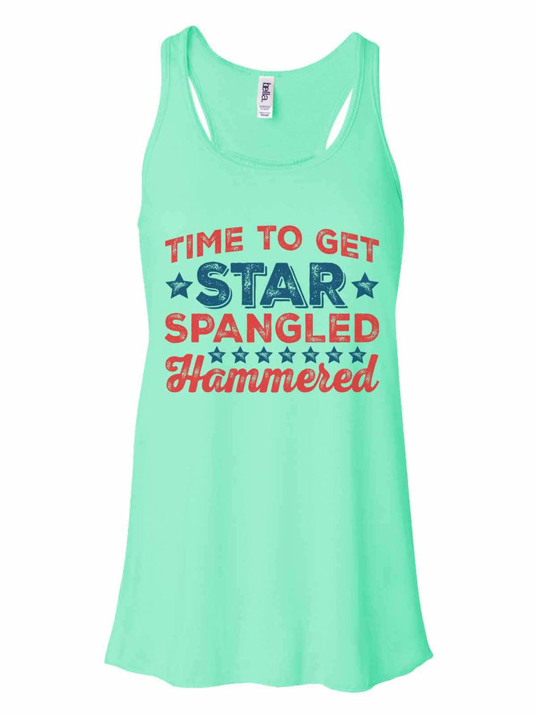 Time To Get Star Spangled Hammered - Bella Canvas Womens Tank Top - Gathered Back & Super Soft Funny Shirt Small / Mint