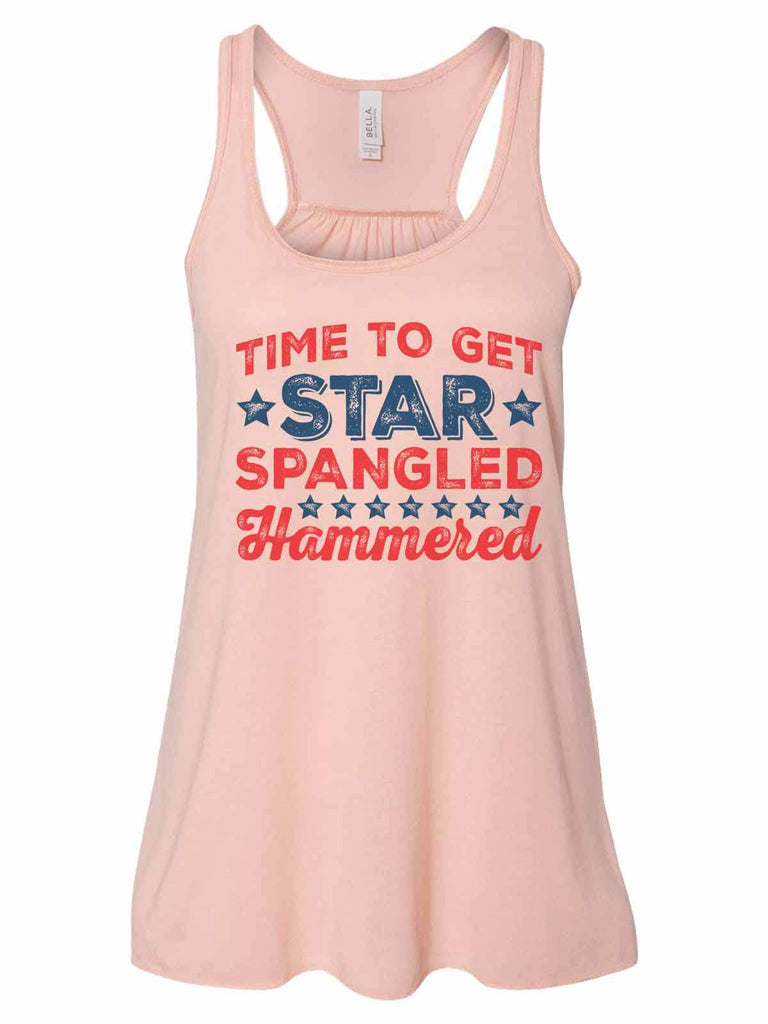 Time To Get Star Spangled Hammered - Bella Canvas Womens Tank Top - Gathered Back & Super Soft Funny Shirt Small / Peach