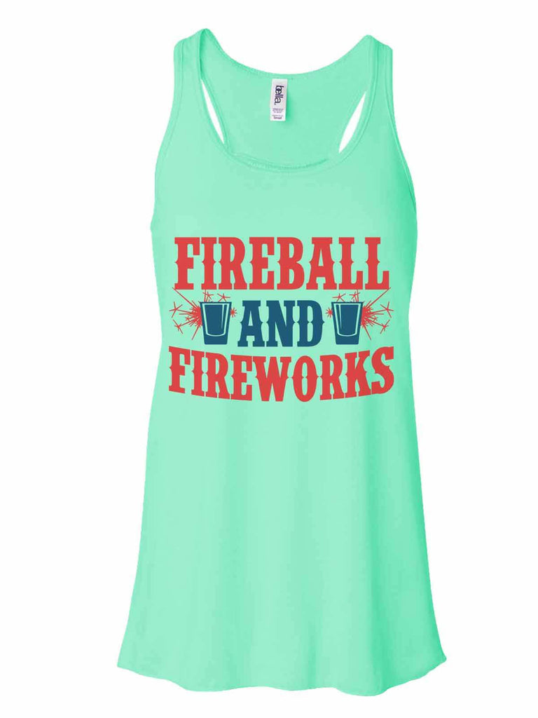 Fireball & Fireworks - Bella Canvas Womens Tank Top - Gathered Back & Super Soft Funny Shirt Small / Mint