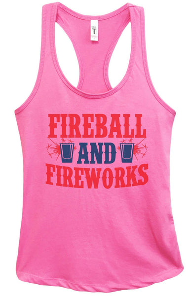 Womens Fireball & Fireworks Grapahic Design Fitted Tank Top Funny Shirt Small / Fuchsia