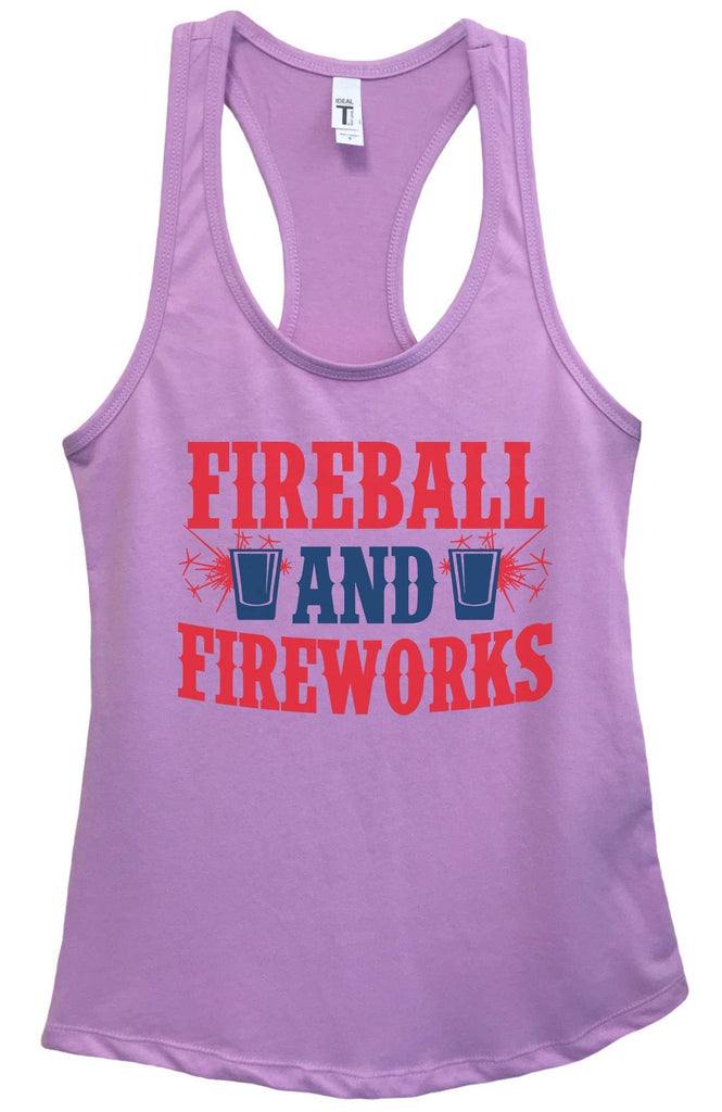 Womens Fireball & Fireworks Grapahic Design Fitted Tank Top Funny Shirt Small / Lavender