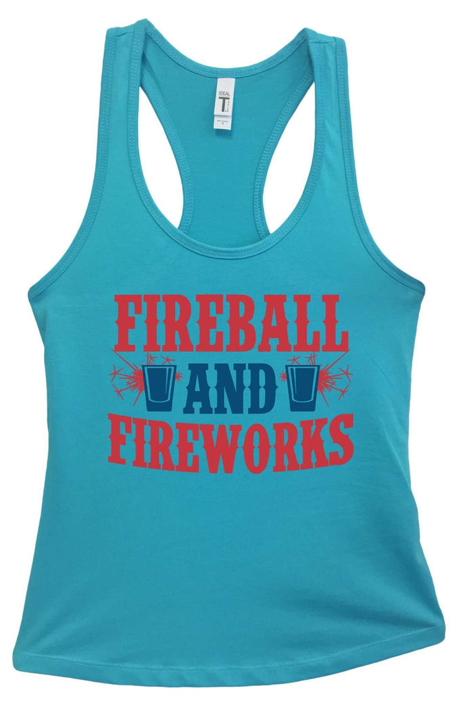 Womens Fireball & Fireworks Grapahic Design Fitted Tank Top Funny Shirt Small / Sky Blue