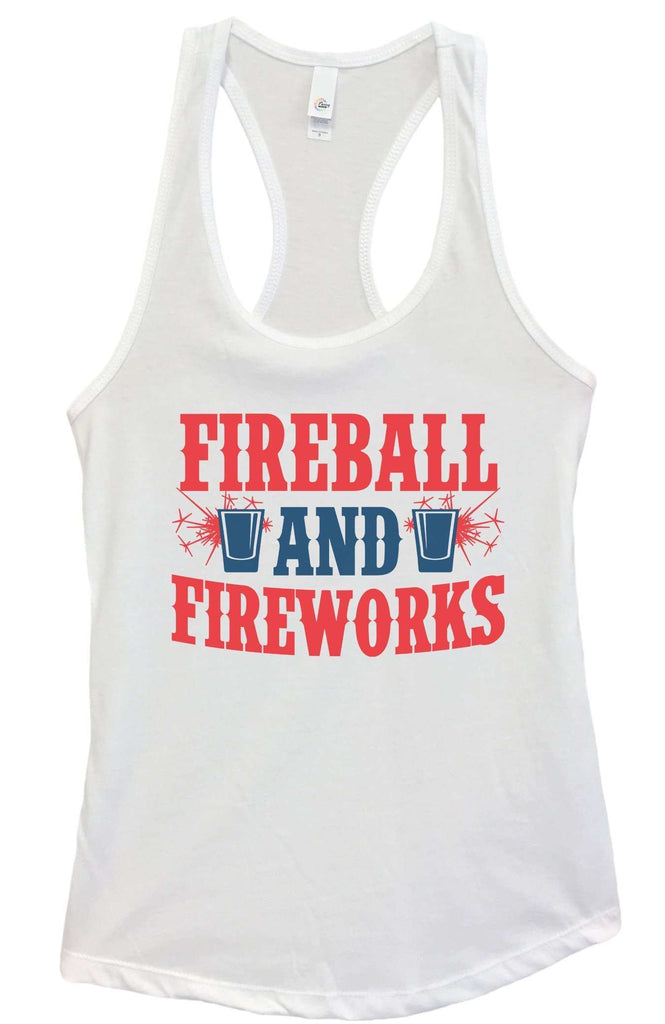 Womens Fireball & Fireworks Grapahic Design Fitted Tank Top Funny Shirt Small / White