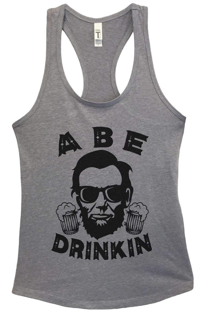 Womens Abe Drinkin Grapahic Design Fitted Tank Top Funny Shirt Small / Heather Grey