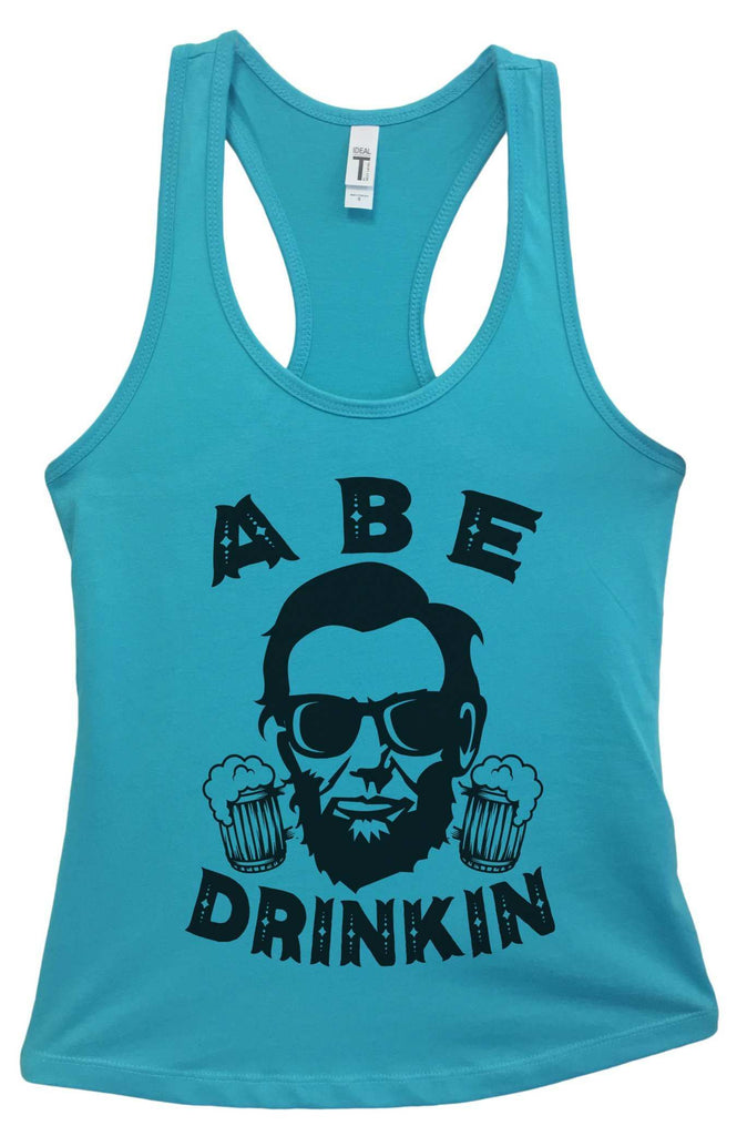 Womens Abe Drinkin Grapahic Design Fitted Tank Top Funny Shirt Small / Sky Blue
