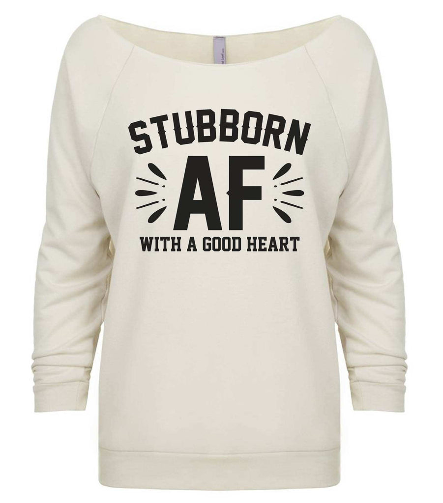 Stubborn Af 3/4 Sleeve Raw Edge French Terry Cut - Dolman Style Very Trendy Funny Shirt Small / Beige