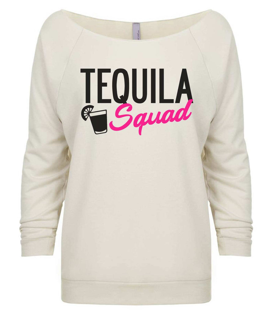 Tequila Squad 3/4 Sleeve Raw Edge French Terry Cut - Dolman Style Very Trendy Funny Shirt Small / Beige