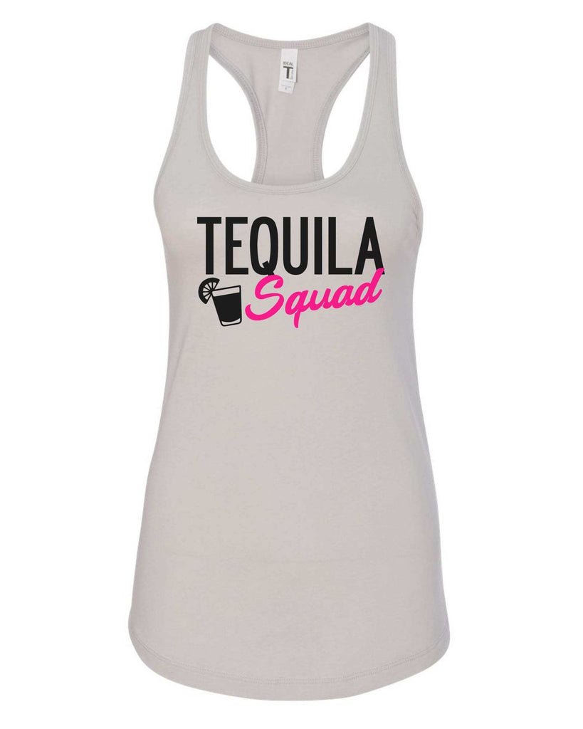 Womens Tequila Squad Grapahic Design Fitted Tank Top Funny Shirt Small / Silver