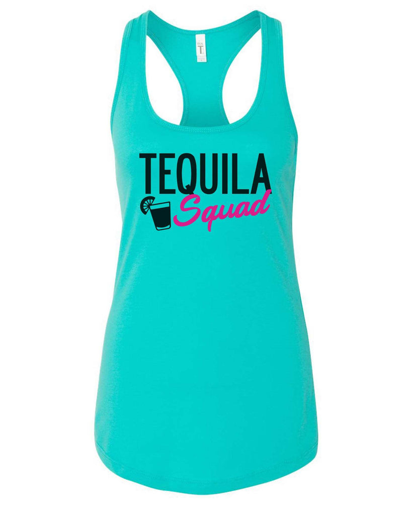 Womens Tequila Squad Grapahic Design Fitted Tank Top Funny Shirt Small / Sky Blue