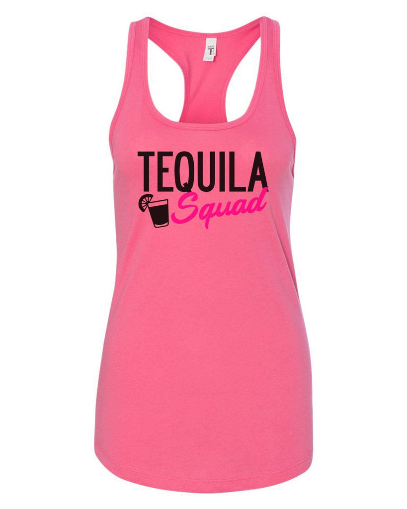 Womens Tequila Squad Grapahic Design Fitted Tank Top Funny Shirt Small / Fuchsia