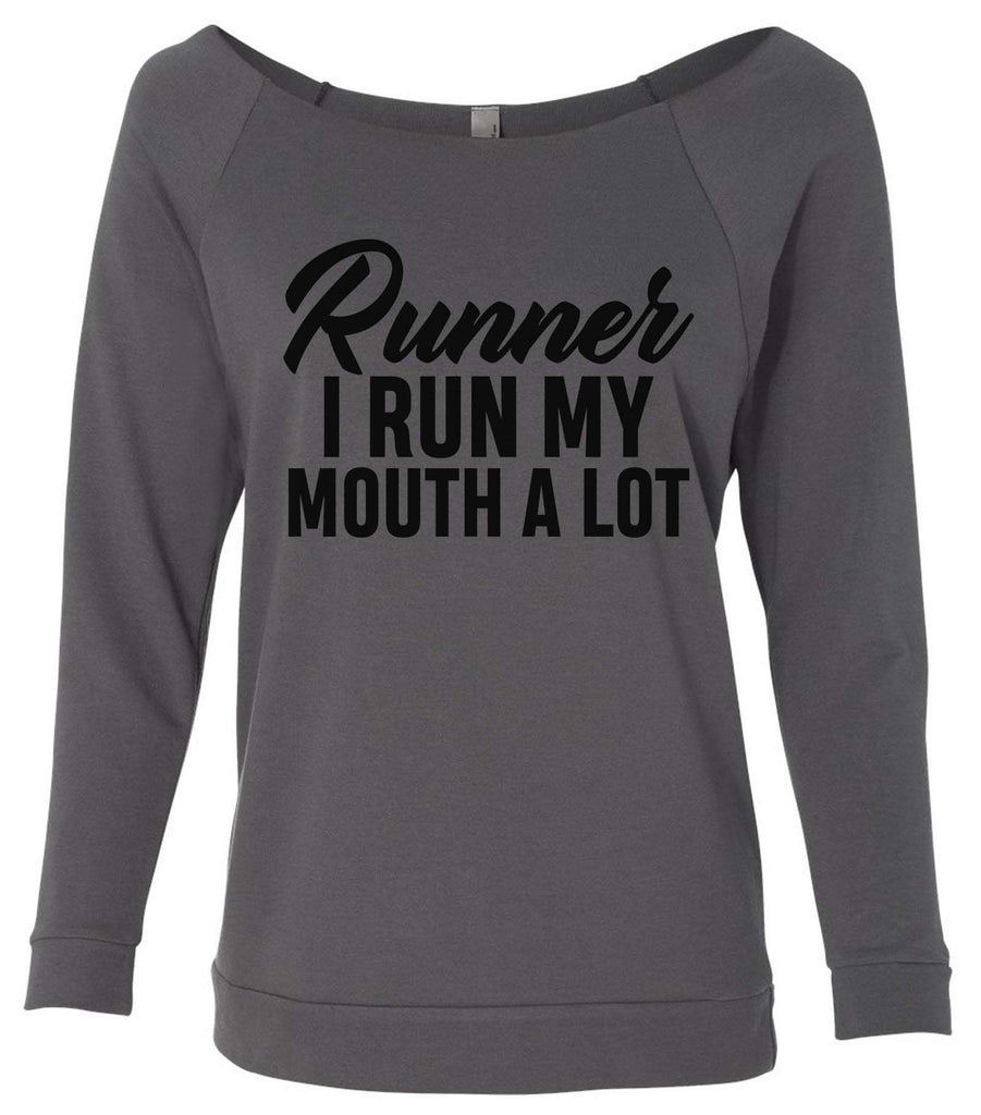 Runner 3/4 Sleeve Raw Edge French Terry Cut - Dolman Style Very Trendy Funny Shirt Small / Charcoal Dark Gray