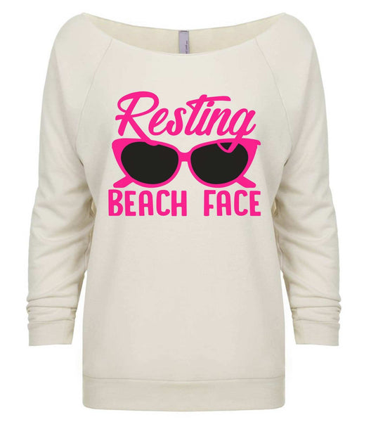 Resting Beach Face 3/4 Sleeve Raw Edge French Terry Cut - Dolman Style Very Trendy Funny Shirt Small / Beige