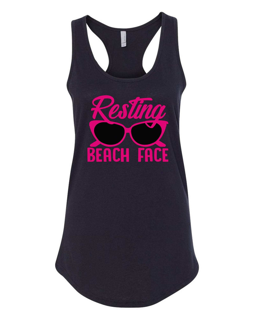 Womens Resting Beach Face Grapahic Design Fitted Tank Top Funny Shirt Small / Black