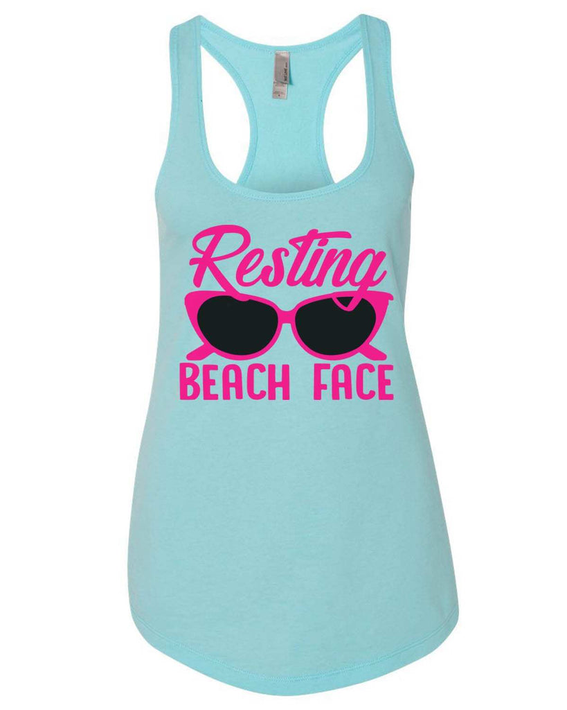 Resting Beach Face Womens Workout Tank Top Funny Shirt Small / Cancun Blue