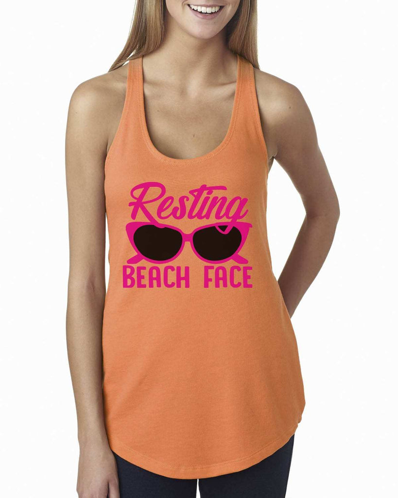 Resting Beach Face Womens Workout Tank Top Funny Shirt