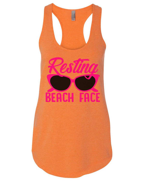 Resting Beach Face Womens Workout Tank Top Funny Shirt Small / Neon Orange