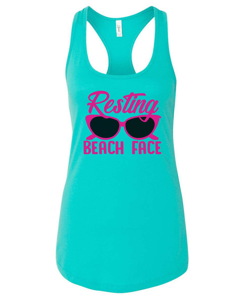Womens Resting Beach Face Grapahic Design Fitted Tank Top Funny Shirt Small / Sky Blue