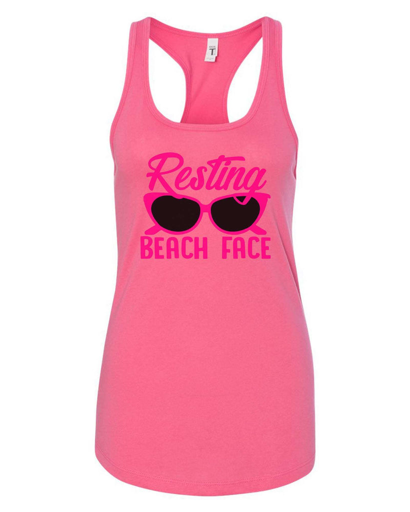 Womens Resting Beach Face Grapahic Design Fitted Tank Top Funny Shirt Small / Fuchsia