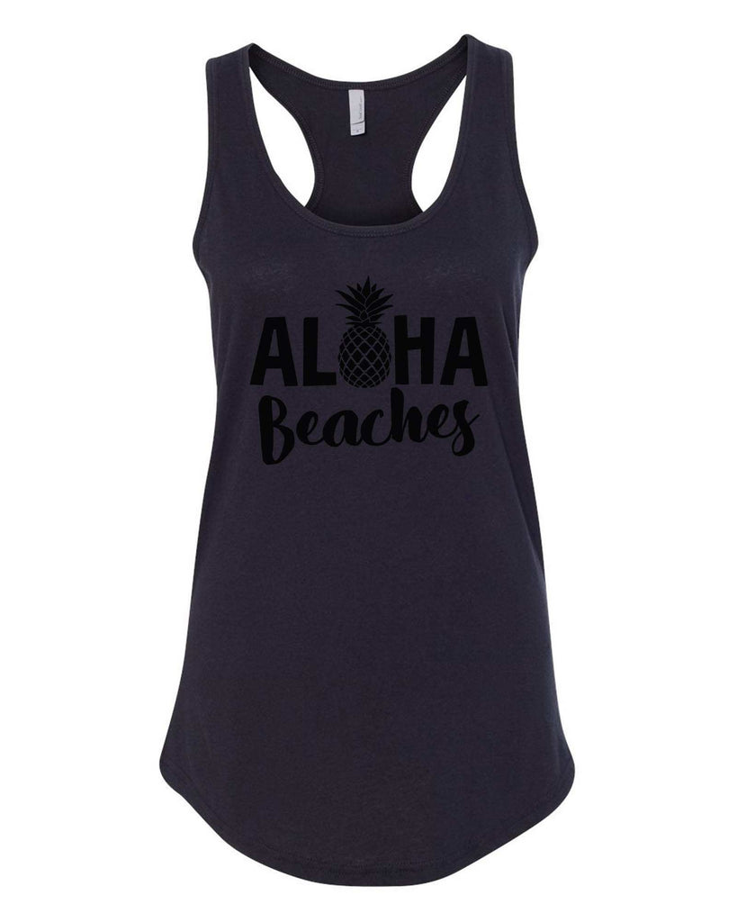 Womens Aloha Beaches Grapahic Design Fitted Tank Top Funny Shirt Small / Black
