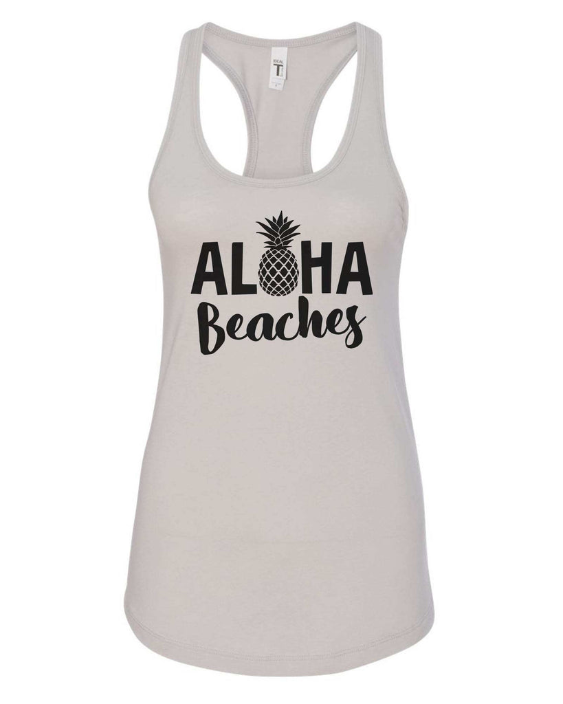 Womens Aloha Beaches Grapahic Design Fitted Tank Top Funny Shirt Small / Silver