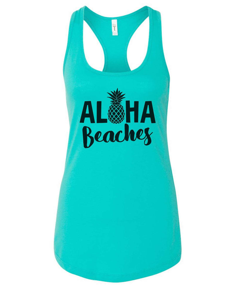 Womens Aloha Beaches Grapahic Design Fitted Tank Top Funny Shirt Small / Sky Blue
