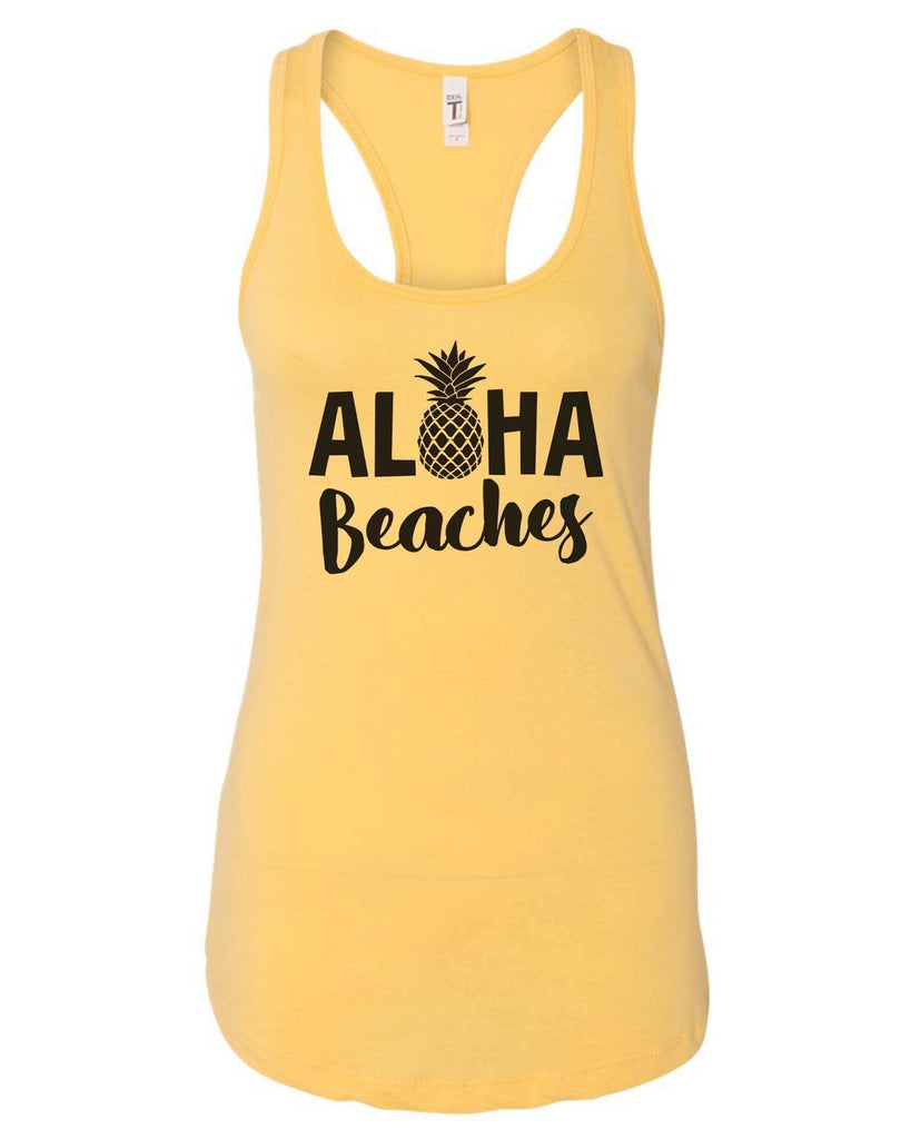 Womens Aloha Beaches Grapahic Design Fitted Tank Top Funny Shirt Small / Yellow
