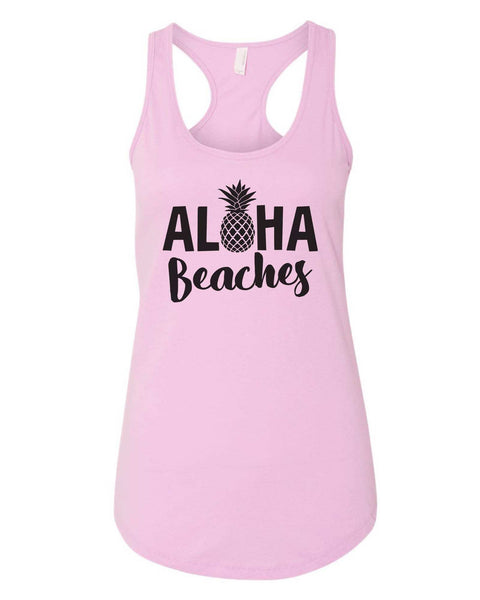 Womens Aloha Beaches Grapahic Design Fitted Tank Top Funny Shirt Small / Lilac