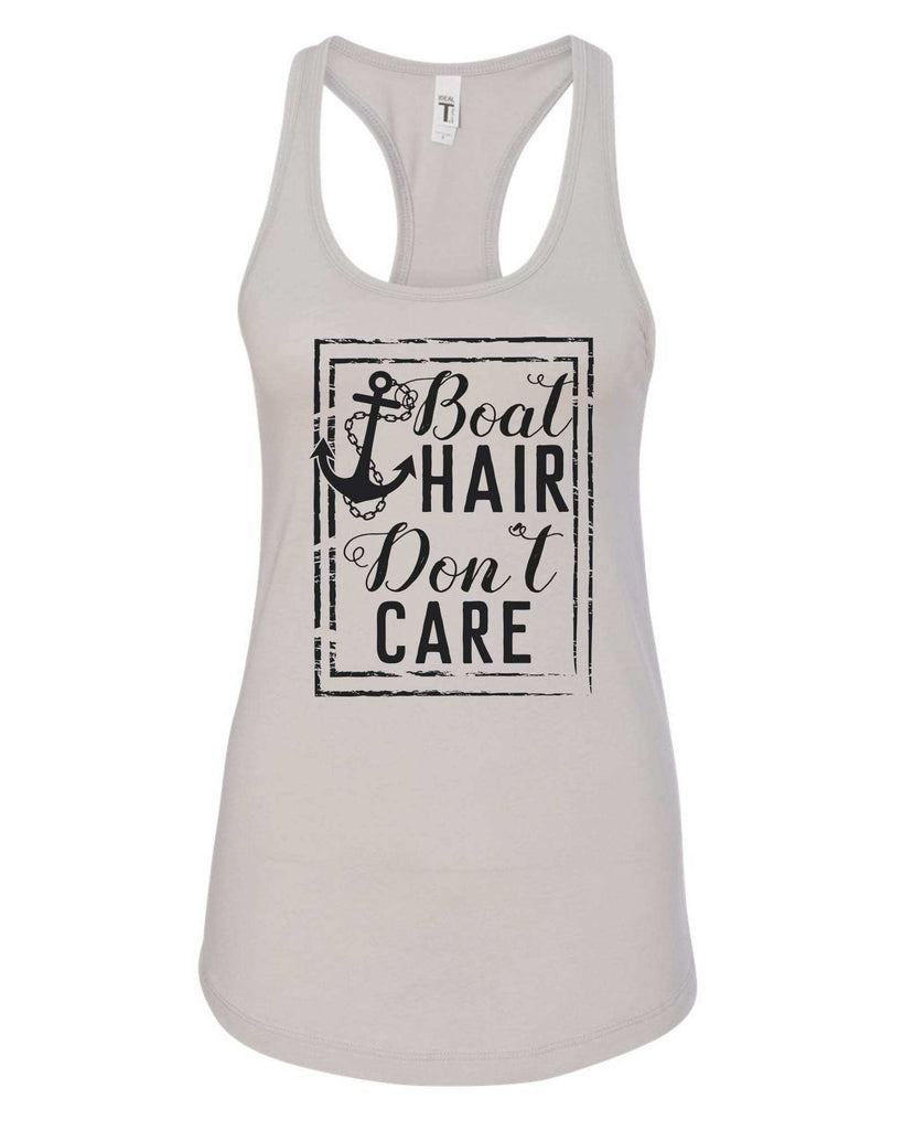 Womens Boat Hair Don't  Care Grapahic Design Fitted Tank Top