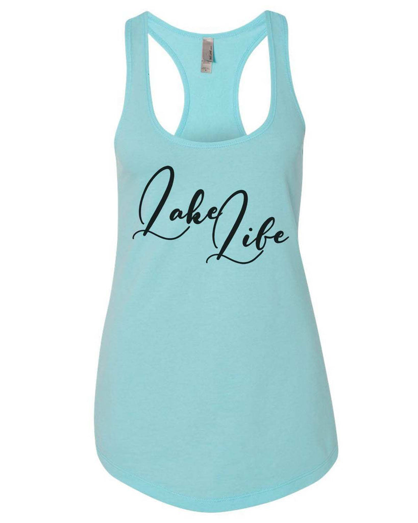 Lake Life Womens Workout Tank Top Funny Shirt Small / Cancun Blue