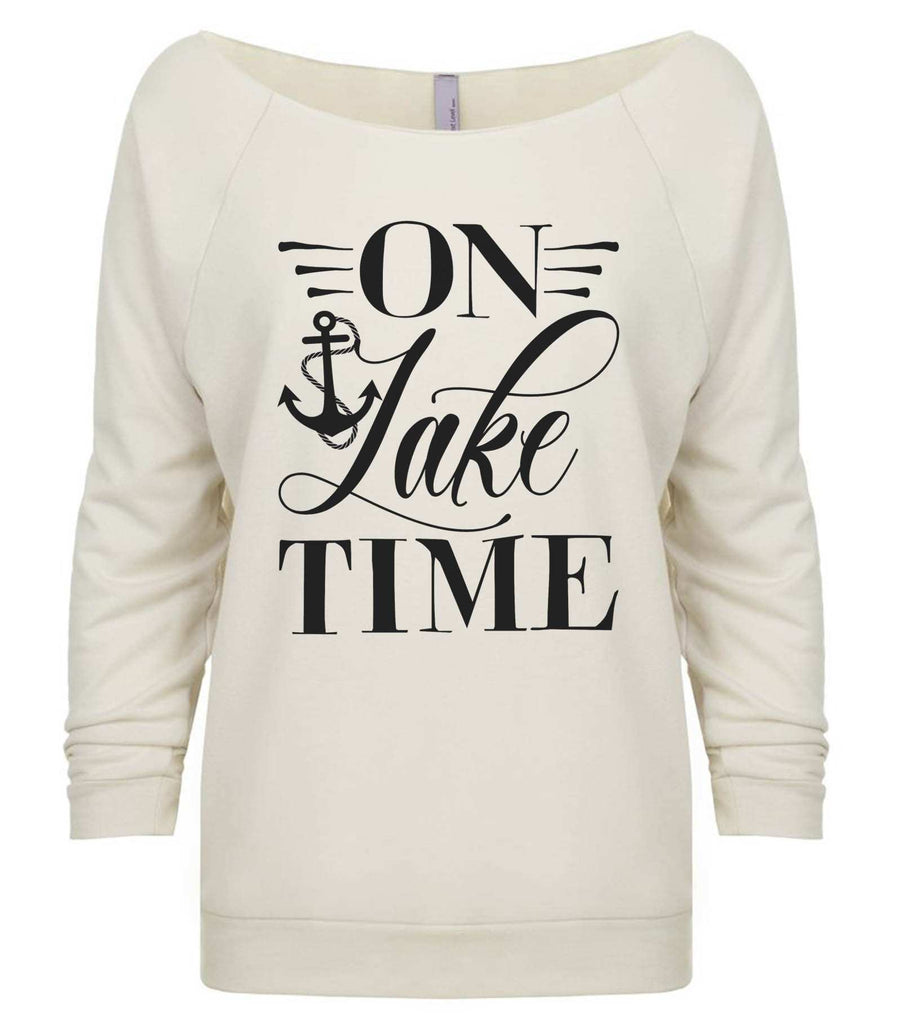 On Lake Time 3/4 Sleeve Raw Edge French Terry Cut - Dolman Style Very Trendy Funny Shirt Small / Beige