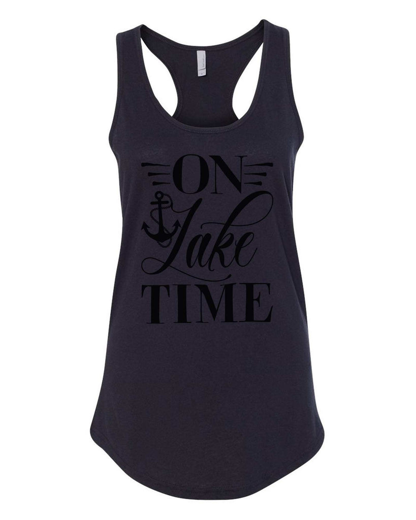 Womens On Lake Time Grapahic Design Fitted Tank Top Funny Shirt Small / Black