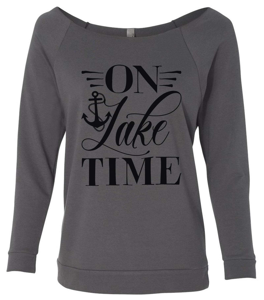 On Lake Time 3/4 Sleeve Raw Edge French Terry Cut - Dolman Style Very Trendy Funny Shirt Small / Charcoal Dark Gray