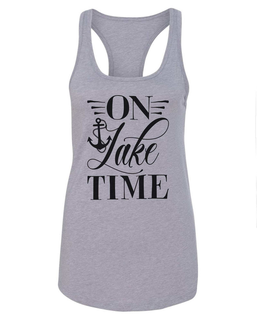 Womens On Lake Time Grapahic Design Fitted Tank Top Funny Shirt Small / Grey